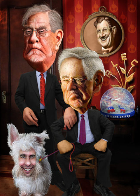 David and Charles Koch with their pet dog Scotty